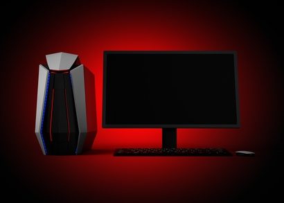 Stylyischer Gaming PC mit Monitor mit roter LED